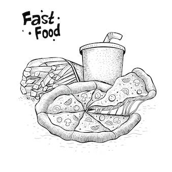 Vector de pizza en estilo dibujado a mano. ilustración de paquete de comida rápida
