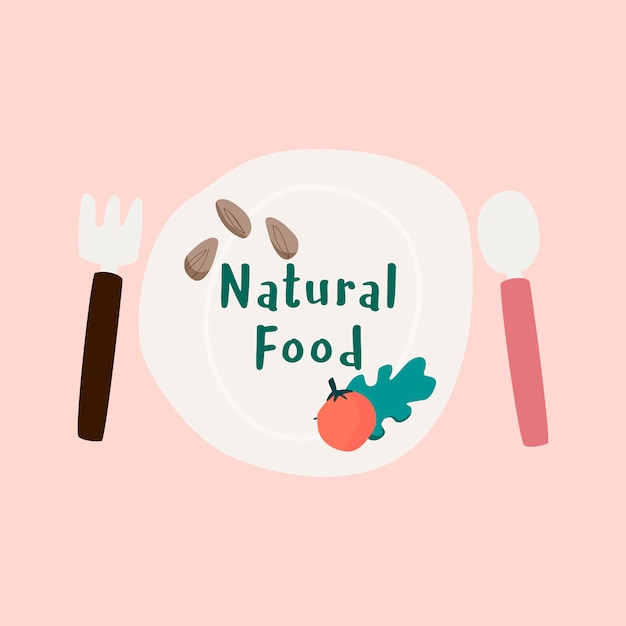 Vector de placa de alimentos frescos naturales
