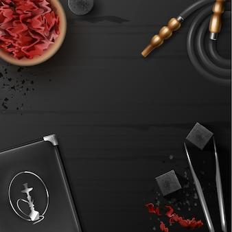 Vector plano de cachimba con tabaco shisha en un tazón, carbón, pinzas, soporte de menú, manguera y copyspace en la vista superior de la mesa de madera negra
