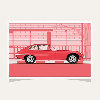 Vector plano clásico del diseño conceptual del coche rojo