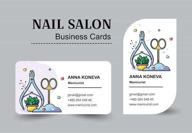 Vector plano conjunto de tarjetas de visita para salón de uñas