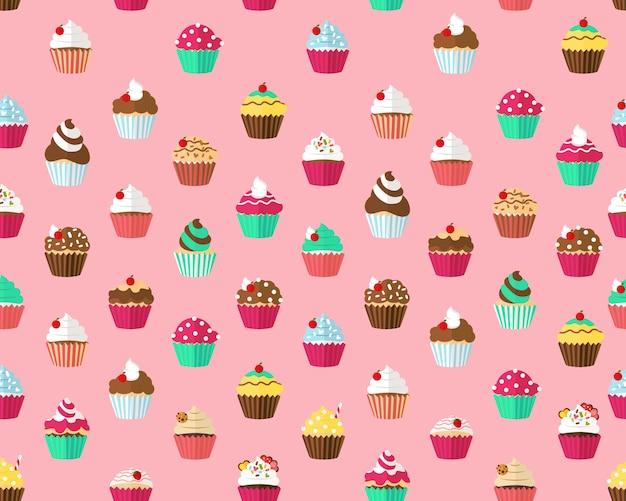 Vector plano sin fisuras textura patrón cupcakes.