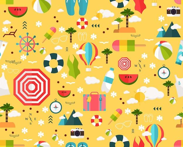 Vector plano inconsútil textura patrón feliz verano.