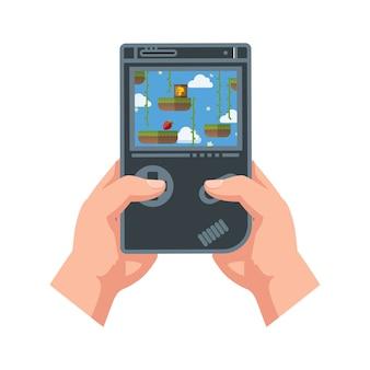Vector plano jugando juegos de consola