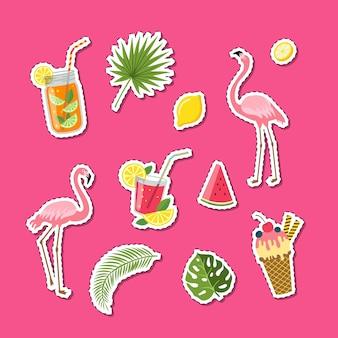 Vector plano lindo elementos de verano, cócteles, flamencos, hojas de palma pegatinas conjunto ilustración