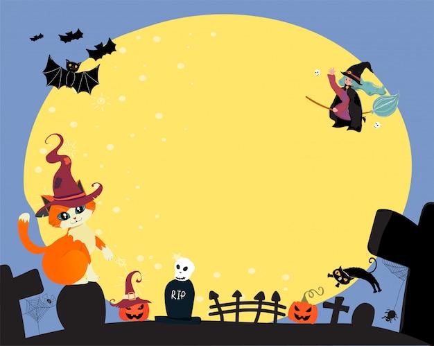Vector plano lindo feliz halloween una bruja montar una floración mágica, volando sobre la luna llena con gato y murciélago, copia espacio para texto
