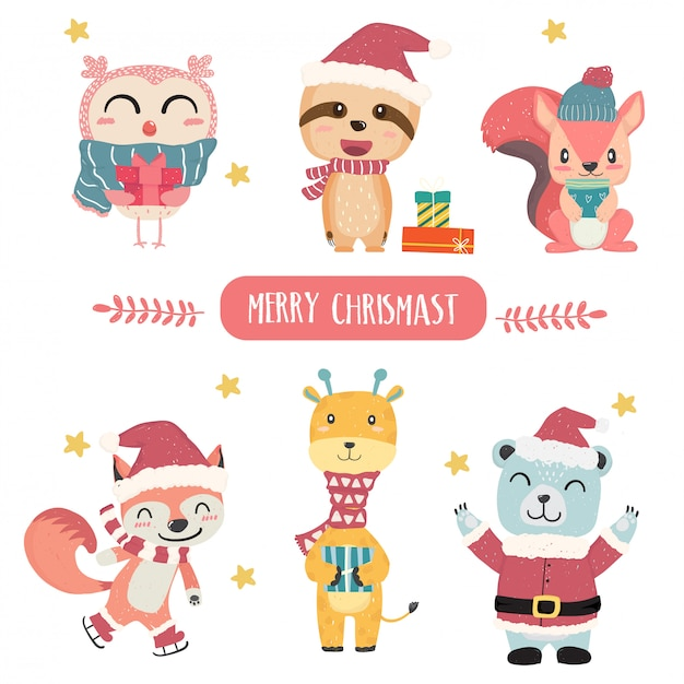Vector plano lindo feliz pastel animal feliz navidad tema colección