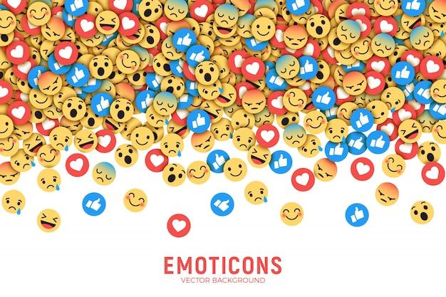 Vector plano moderno facebook emoticonos conceptual arte abstracto ilustración