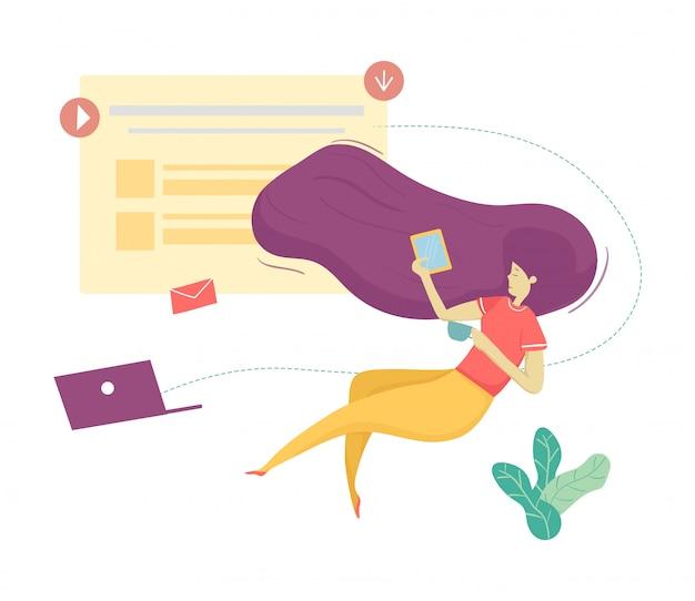 Vector plano moderno mujer carácter anti gravedad comunicación en las redes sociales