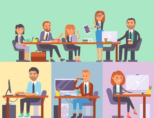 Vector plano personas lugar de trabajo empresa trabajador persona trabajando en la computadora portátil en la mesa en la oficina compañero de trabajo empresaria y empresario personajes