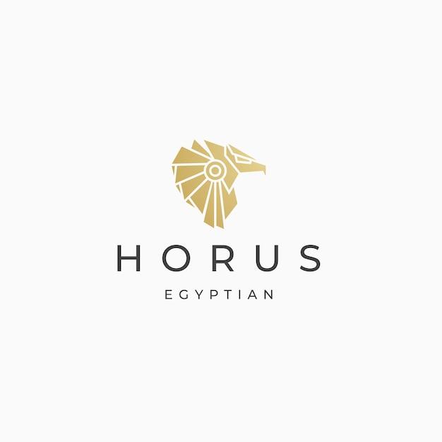 Vector plano de plantilla de diseño de icono de logotipo de dios egipcio horus