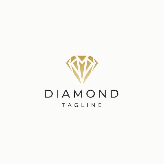 Vector plano de plantilla de diseño de icono de logotipo de oro de lujo elegante de piedra de diamante