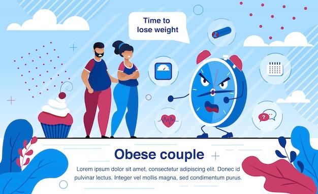 Vector plano de problemas de salud de personas obesas