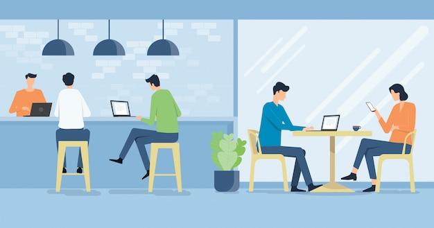 Vector plano trabajando en el lugar de trabajo cafetería y concepto de reunión del equipo de negocios