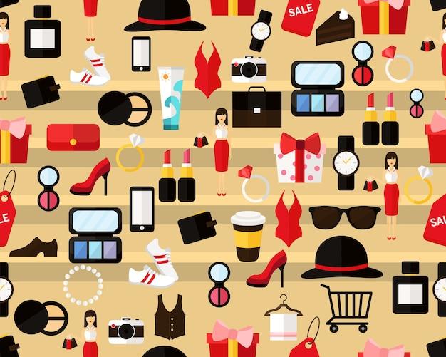 Vector plano transparente textura patrón de compras.