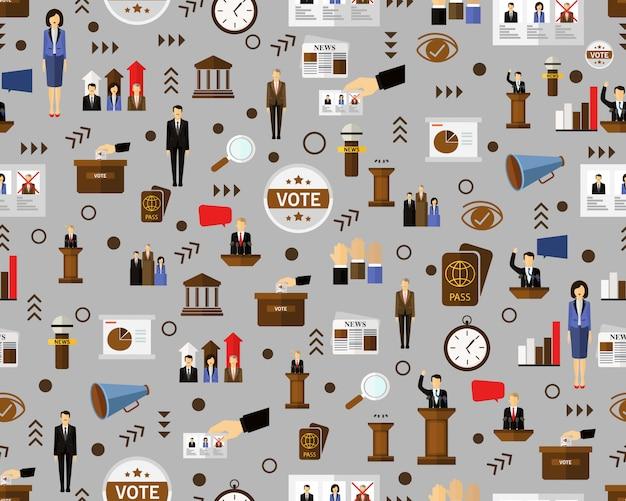Vector plano transparente textura patrón democracia política.