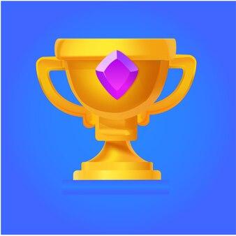 Vector plano trofeo de oro para el juego