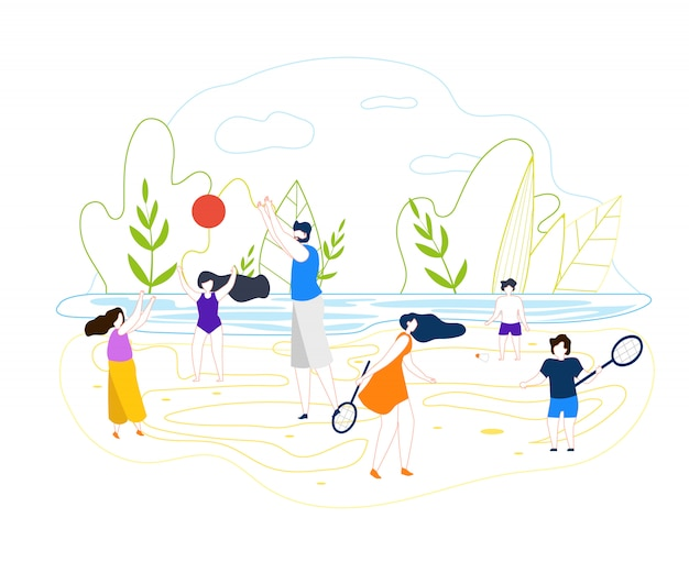 Vector plano de verano juegos de playa en el río de fondo