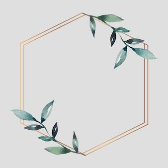 Vector de plantilla de anuncios sociales de marco hexagonal dorado frondoso