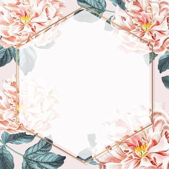 Vector de plantilla de anuncios sociales de marco hexagonal de peonía