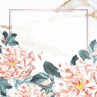 Vector de plantilla de anuncios sociales de marco de peonía floral dorado