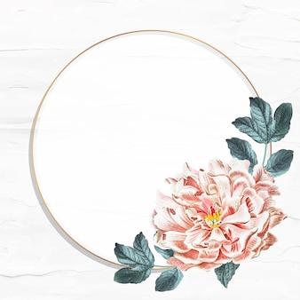 Vector de plantilla de anuncios sociales de marco de peonía floral redondo