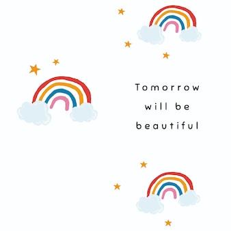 El vector de plantilla de arco iris blanco para la cita de publicación de redes sociales mañana será hermoso