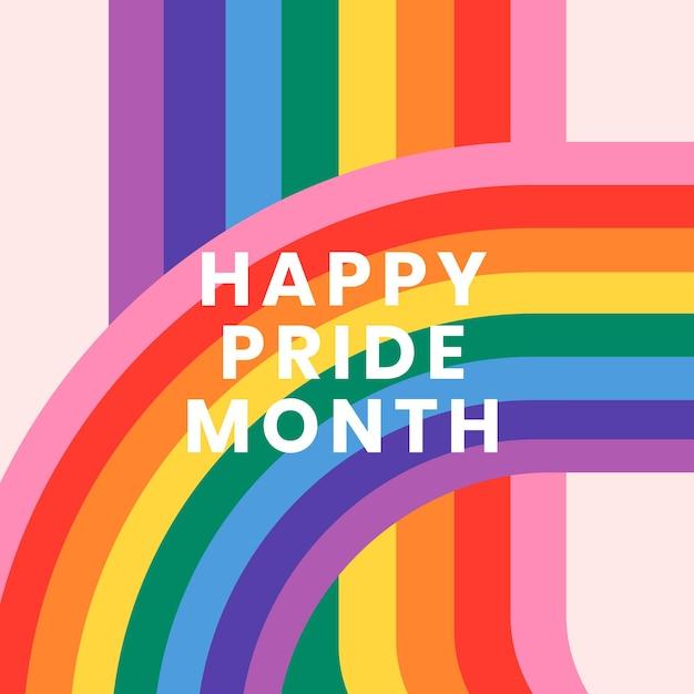 Vector de plantilla de arco iris con texto de feliz mes del orgullo