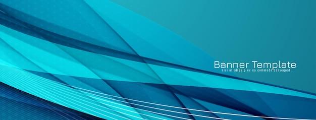 Vector de plantilla de banner de diseño de estilo de onda azul decorativo moderno