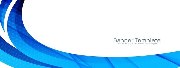 Vector de plantilla de banner de diseño de estilo de onda azul dinámico moderno