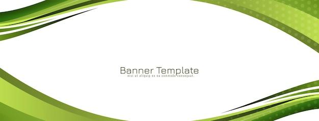 Vector de plantilla de banner de diseño de estilo de onda verde abstracto