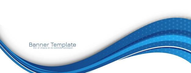 Vector de plantilla de banner de diseño de onda azul elegante con estilo