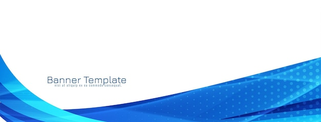 Vector de plantilla de banner de diseño ondulado azul elegante abstracto