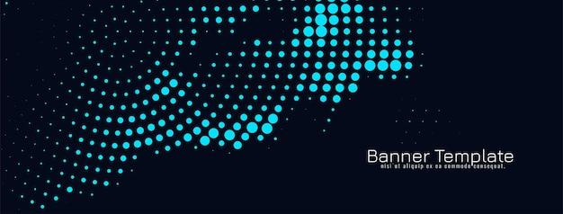 Vector de plantilla de banner de diseño de semitono azul moderno