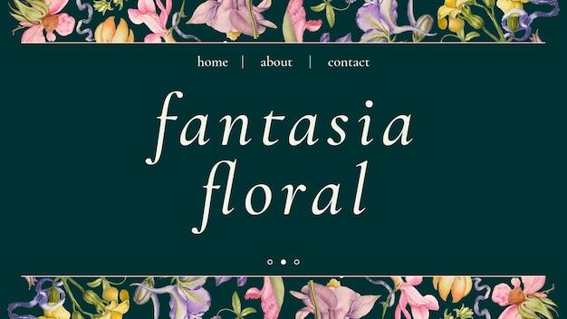 Vector de plantilla de banner floral colorido en hermoso estilo vintage