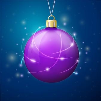 Vector plantilla de banner de navidad con bola brillante.
