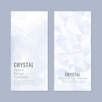 Vector de plantilla de banner con textura de cristal azul y blanco