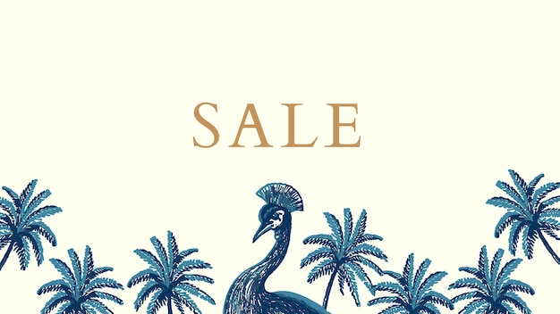 Vector de plantilla de banner de venta tropical en tono azul