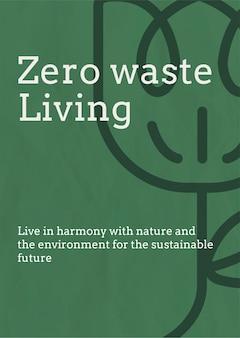 Vector de plantilla de cartel de desperdicio cero en tono tierra