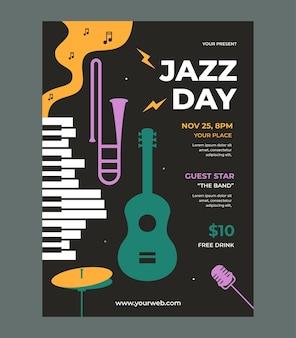 Vector de plantilla de cartel de día de jazz con diseño plano