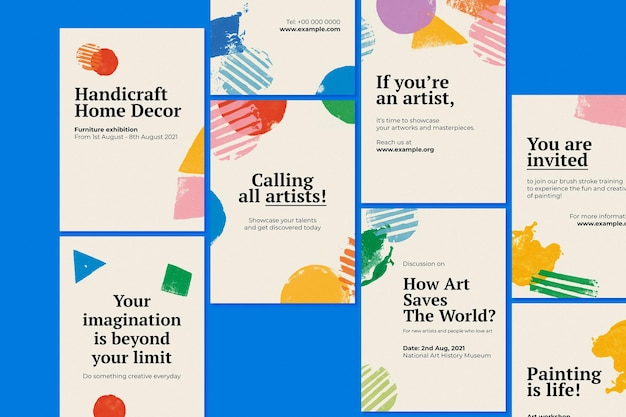 Vector de plantilla de cartel de exposición de arte con conjunto de patrón de sello
