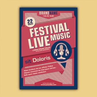 Vector de plantilla de cartel del festival de música con estilo vintage y retro