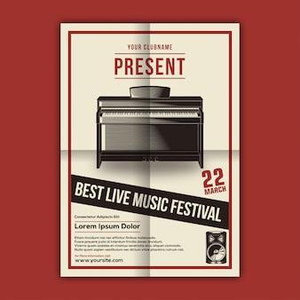 Vector de plantilla de cartel del festival de música