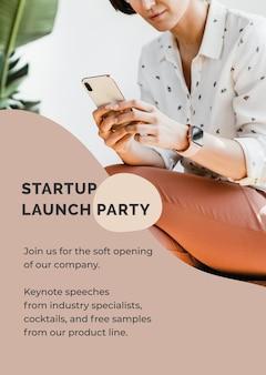 Vector de plantilla de cartel de inicio para emprendedor