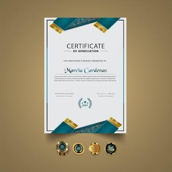 Vector de plantilla de certificado blanco moderno