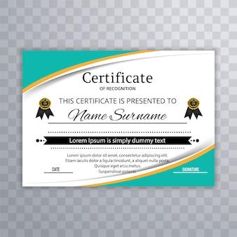 Vector de plantilla de certificado de onda colorido abstracto