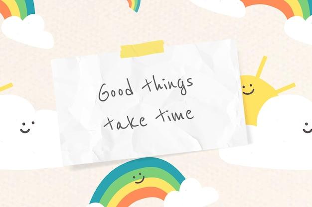 Vector de plantilla de cita alegre con banner de dibujos de arco iris lindo doodle