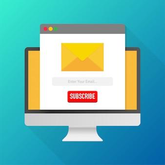 Vector plantilla correo electrónico suscribirse en la computadora. enviar formulario de correo electrónico del sitio web banner. ilustración vectorial