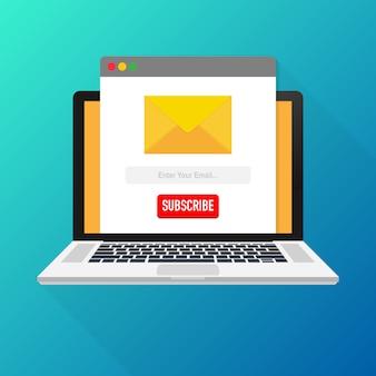 Vector plantilla correo electrónico suscribirse en la computadora portátil. enviar formulario de correo electrónico del sitio web banner. ilustración vectorial