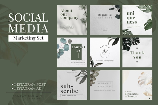 Vector de plantilla de diseño de banner minimalista de marketing en redes sociales